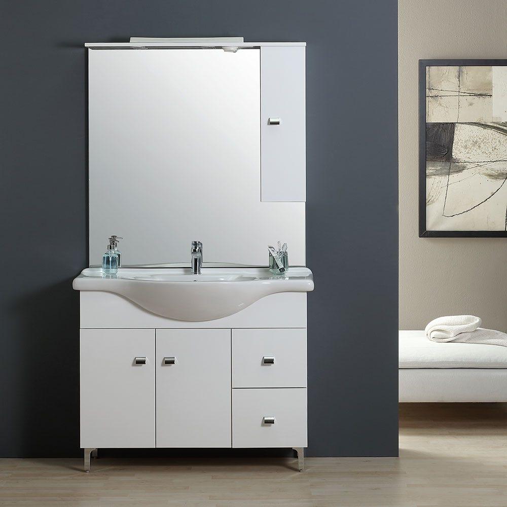 Meuble Haut Salle De Bain Avec Miroir meuble salle de bain 105 cm classique avec lavabo et miroir