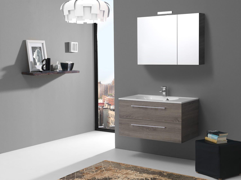 Mobile arredo bagno con specchio contenitore in legno